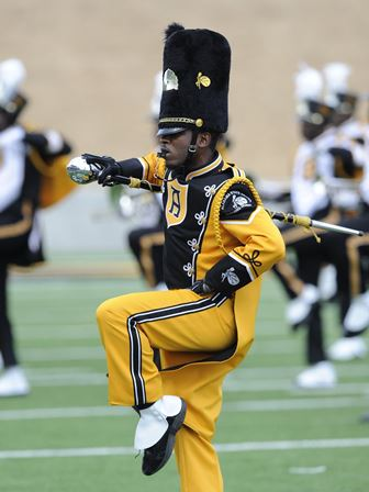 Alabama State drum major performs at halftime