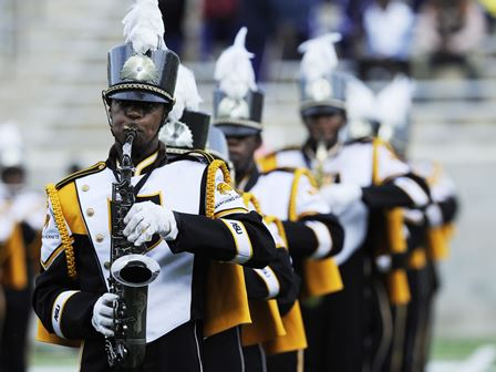 Alabama State marching band performs during halft...