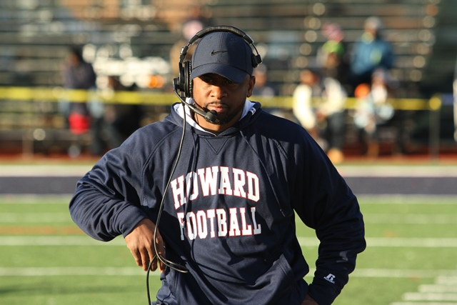 Howard football coach walks the sideline