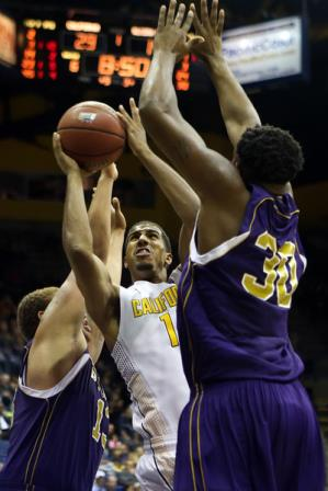 Alcorn State Braves attempt to block a shot agai...