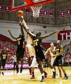 Grambling State and Ball State battle for the reb...