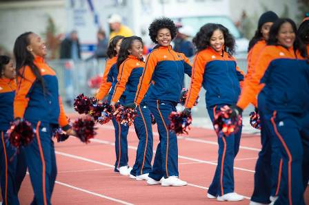 Morgan State cheerleaders at the NCAA playoffs ga...