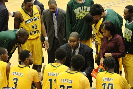 Norfolk State head coach Robert Jones takes a tim...