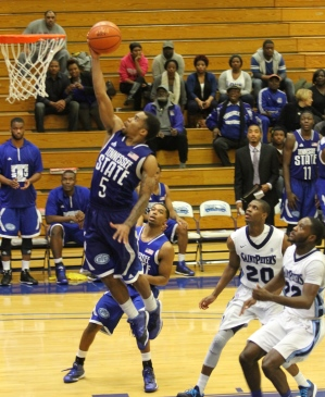 Tennessee State takes it to the basket against Sa...