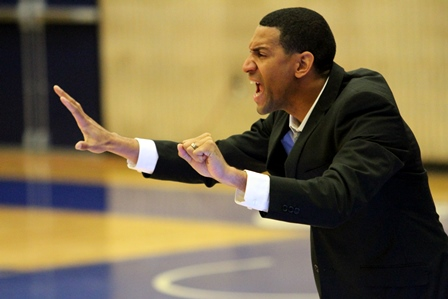 Tennessee State head coach Dana Ford yells out to...
