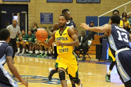 Norfolk State drives to the basket against Saint ...