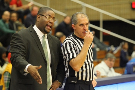 Norfolk State head coach Robert Jones chats with ...