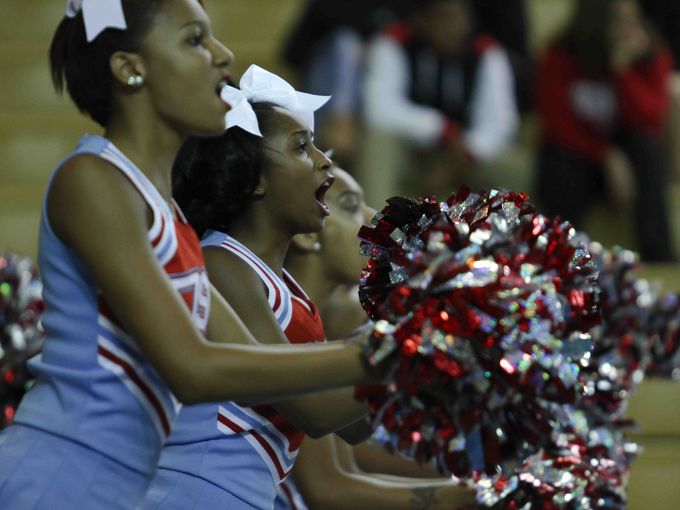 Delaware State cheerleaders perform at the game