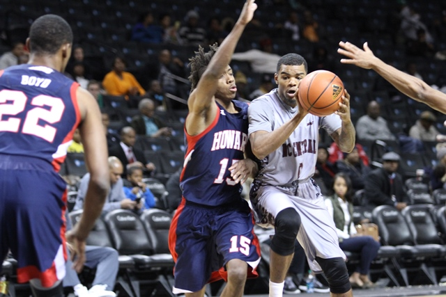North Carolina Central Eagles drive to the basket...