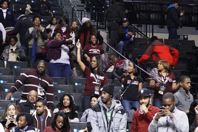 North Carolina Central Eagle fans celebrate a vic...