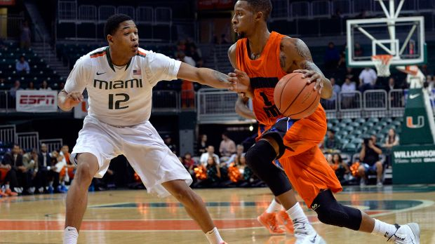 Savannah State drives to the basket against Miami