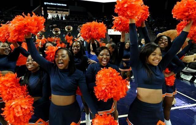 Lincoln University cheerleaders celebrate the tea...