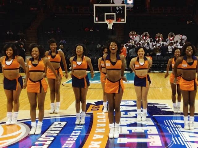 Virginia State Woo Woos perform at the mid court ...