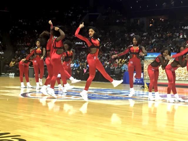 Elizabeth City State University cheerleaders perf...
