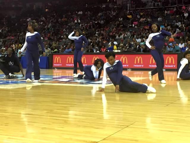Saint Augustine's Falcons cheerleaders perfo...