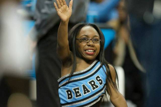 Livingstone Blue Bears cheerleader at the2015  CI...