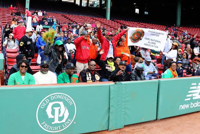 Florida A&M University fans at Fenway Park suppor...