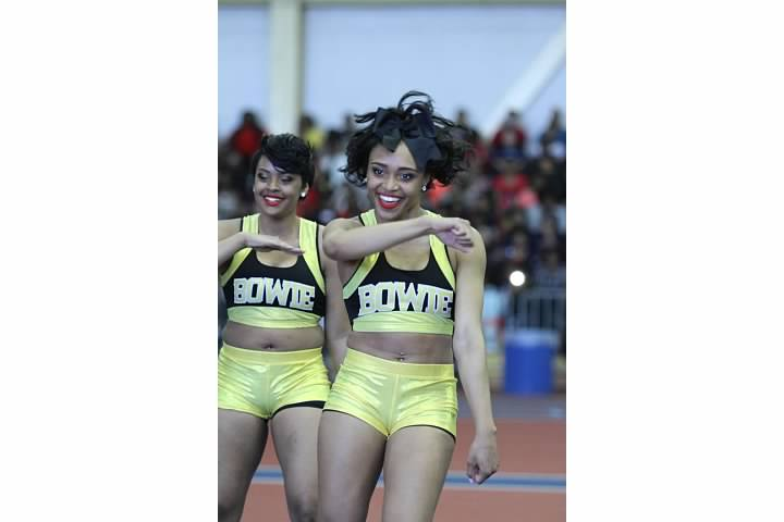 Bowie State University Golden Girl cheerleaders a...