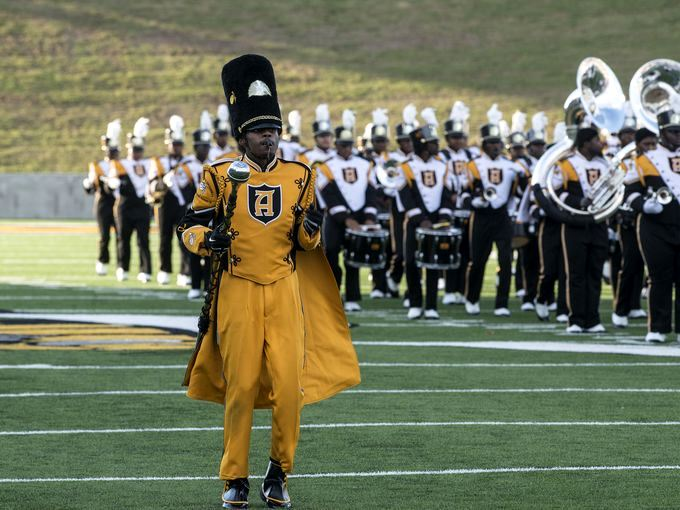 Alabama State marching band performs at halftime