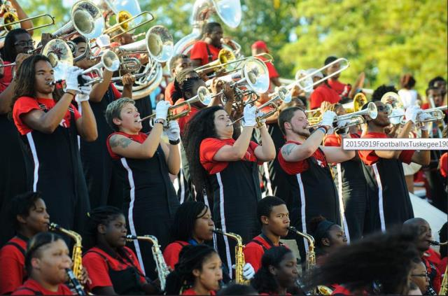 Winston-Salem State marching band performs in the...
