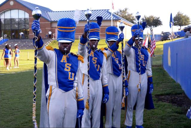 Albany State University Marching Rams drum majors...