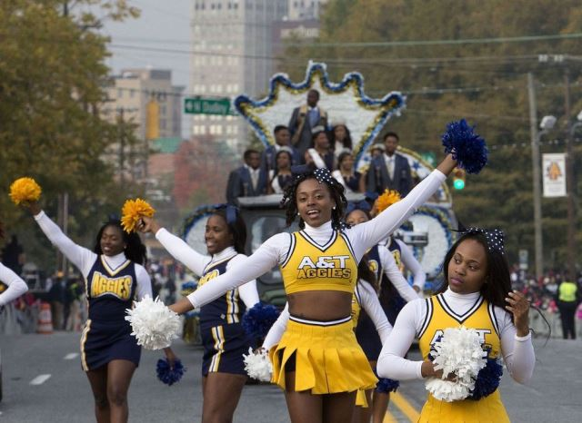 North Carolina A&T Aggies cheerleaders at homecom...