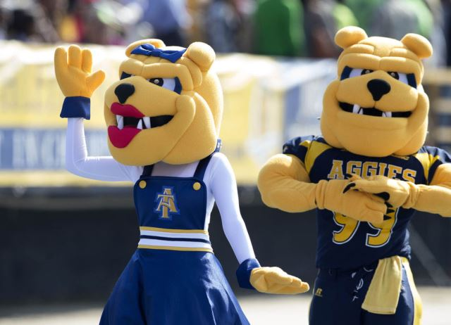North Carolina A&T Aggie mascots at homecoming