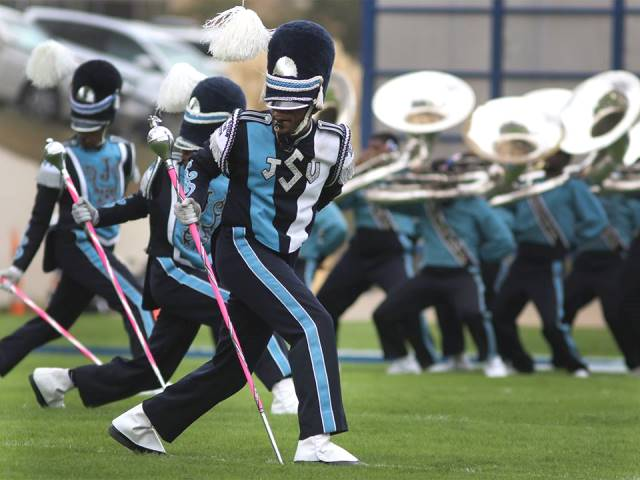 Jackson State drum majors take the field
