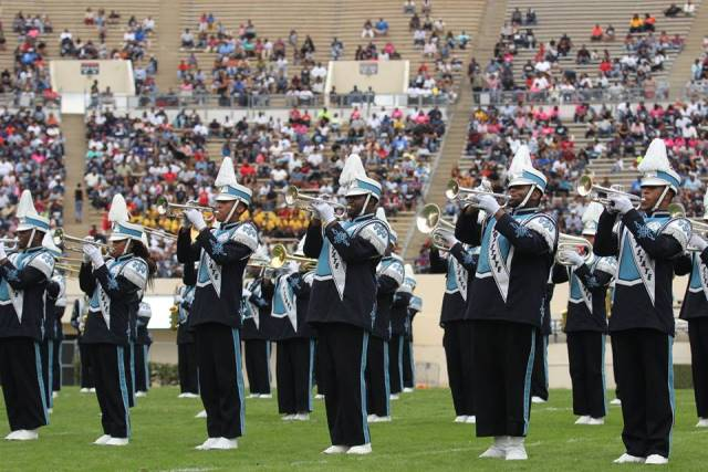Jackson State University marching band performs a...