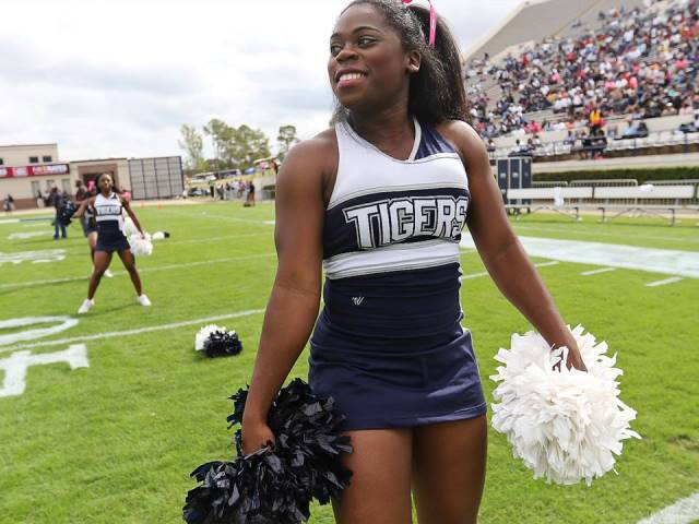 Jackson State University cheerleaders at homecomi...