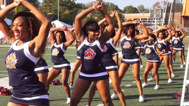 Morgan State cheerleaders work the sideline