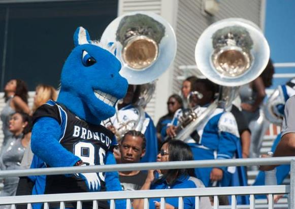 Fayetteville State Broncos mascot at homecoming