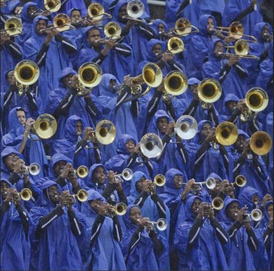 Southern University band plays in the stands