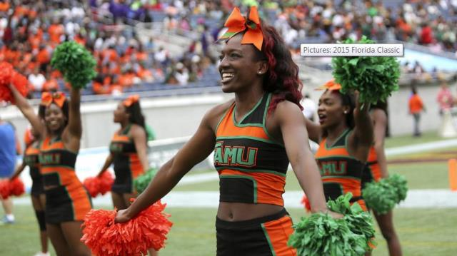 Florida A&M cheerleaders at the 2015 Florida Blue...