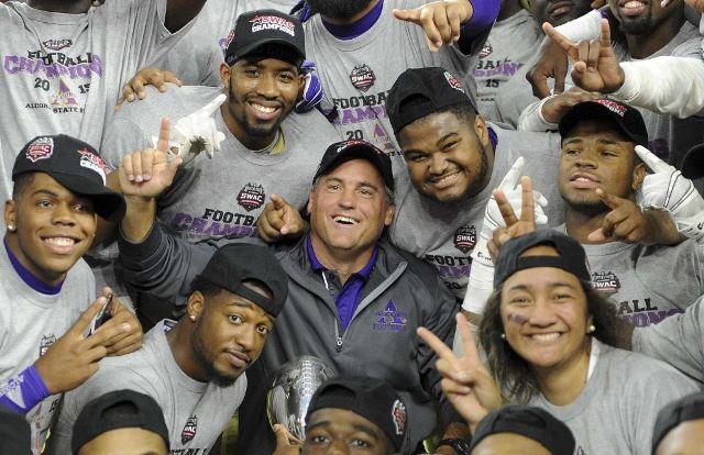 Alcorn State head coach Jay Hopson, celebrates wi...