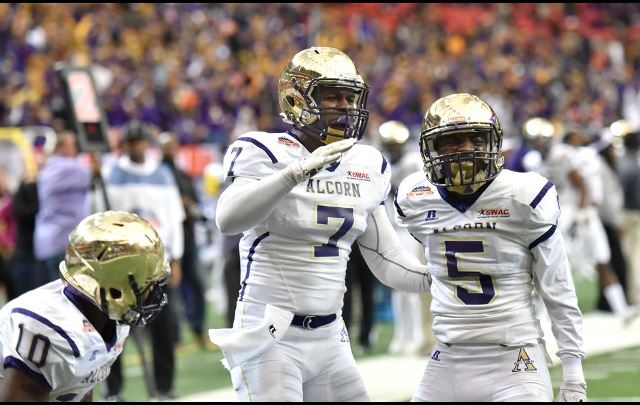 Alcorn State Braves scores a touchdown in the Cel...