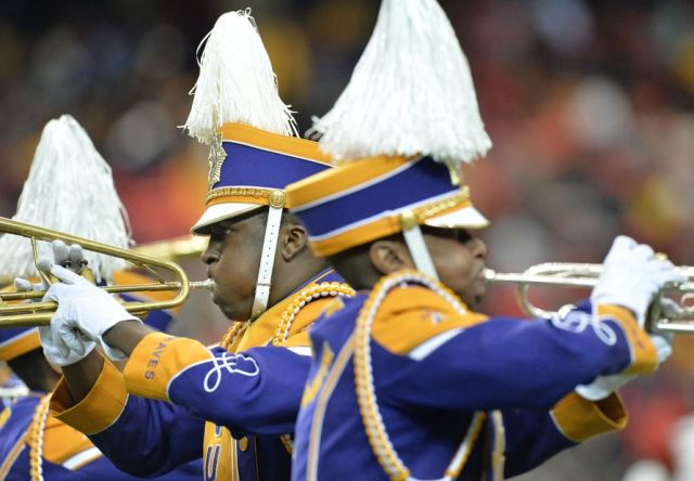 Alcorn State marching band performs at halftime