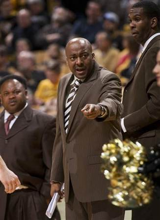 Arkansas-Pine Bluff head coach George Ivory argue...