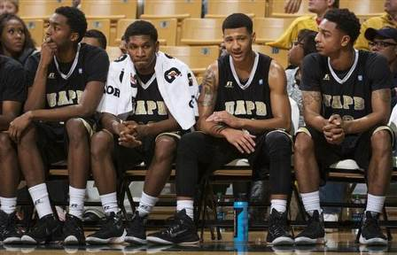 Arkansas-Pine Bluff players watch the final minut...