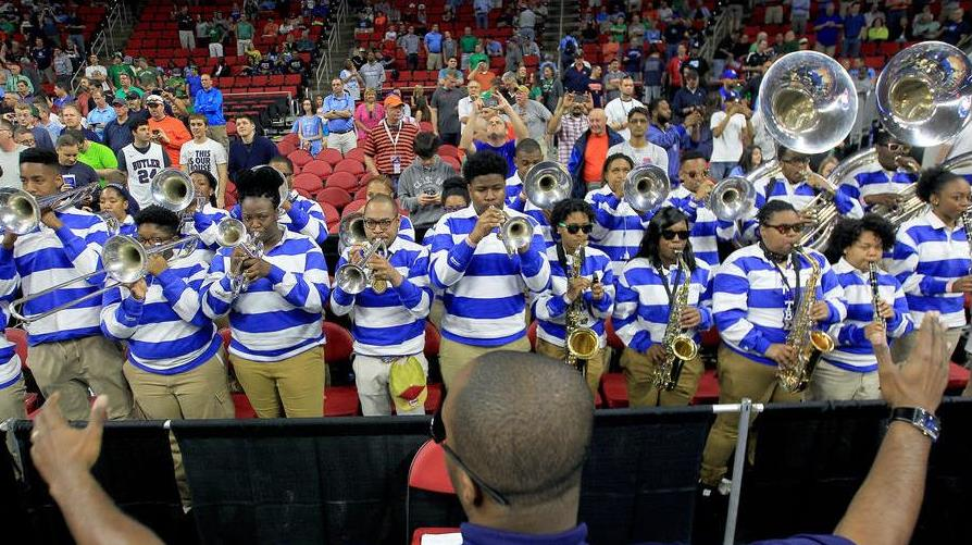 Hampton Pep Band plays during a timeout